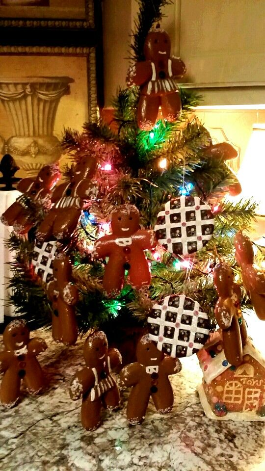 Gingerbread kitchen counter Christmas tree Home sweet home
