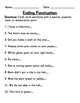 Ending Punctuation worksheet: I would use this worksheet in class to ...