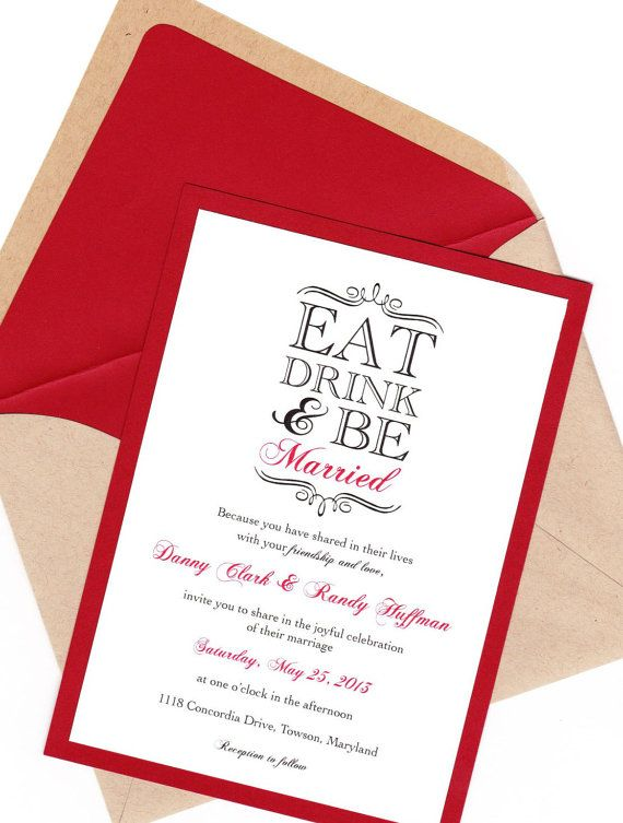 Eat Drink & Be Married Wedding Invitation Set by bbinvitations