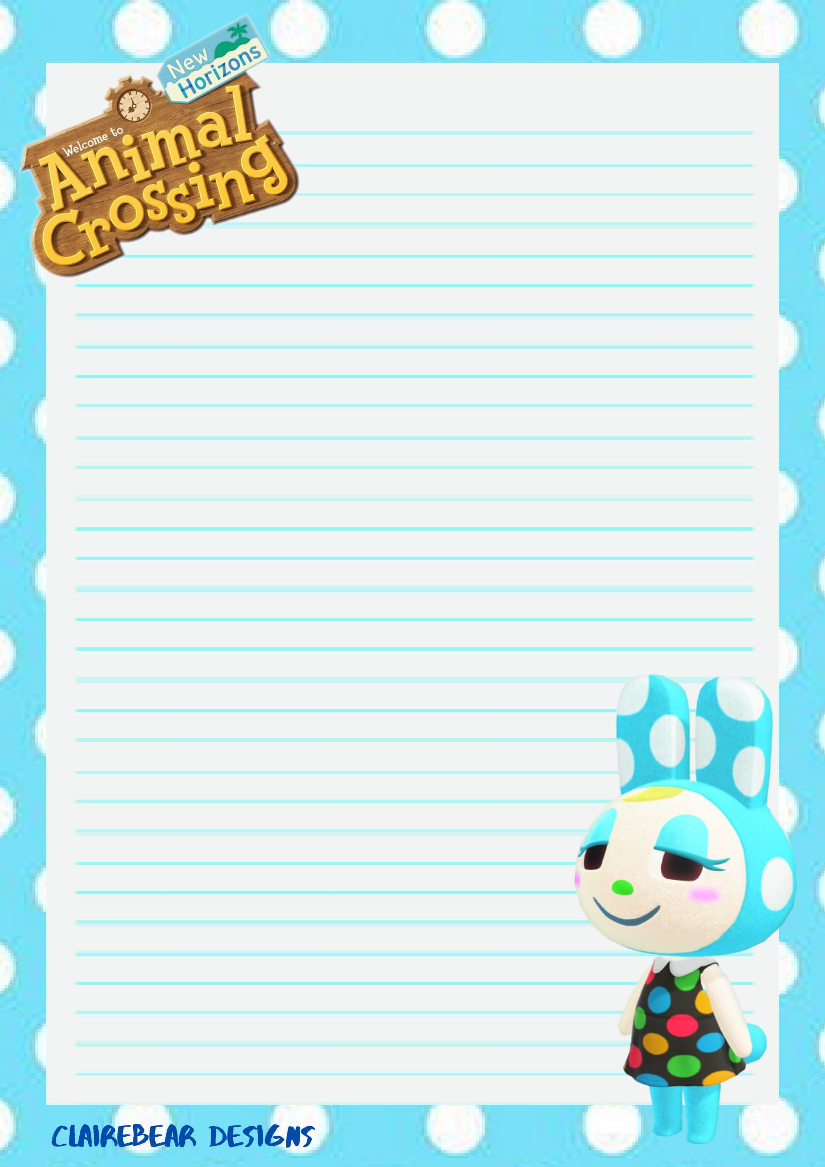 Acnh Francine Paper Animals Animal Crossing Cute Stationery