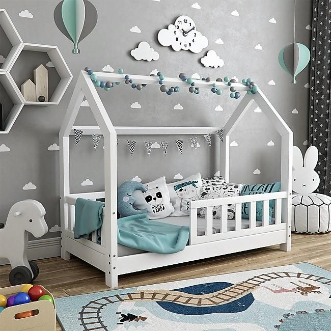 Small Montessori Toddler Floor Bed Frame with Rails