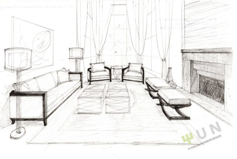 Design Sketch Formal Living Room Interior Xnewlook Com Interior Design Living Room Interior Design Renderings Interior Design Sketches