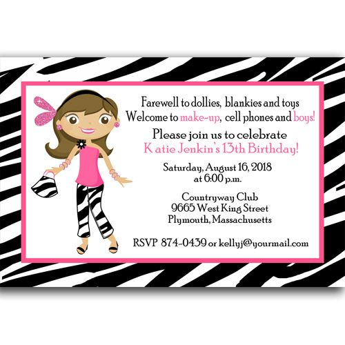 13th Birthday Teenage Zebra Print Party Invitation 13