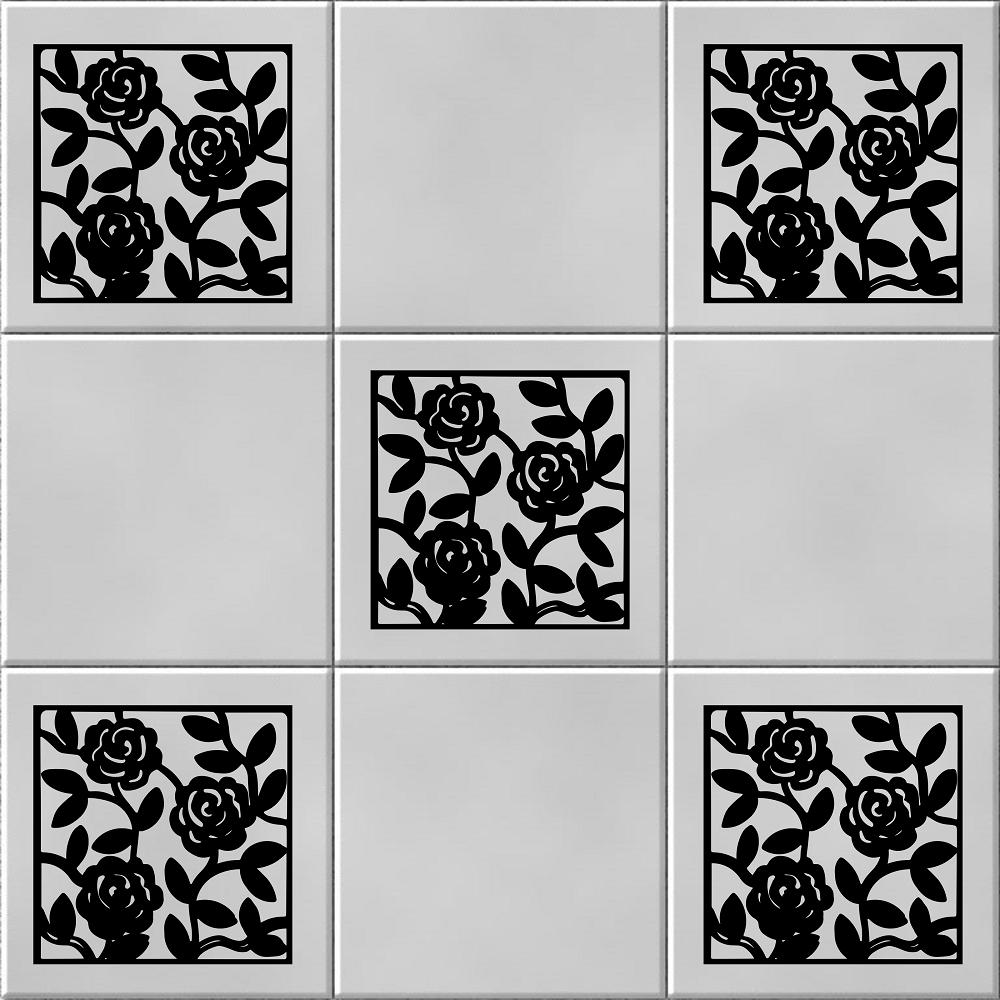 Pack of 5 Rose Vine Tile Wall Sticker Decal | Wall/ Tile Art Vinyl ...