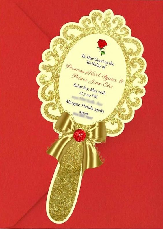 Enchanted Mirror Party Invite From A Beauty And The Beast 1st