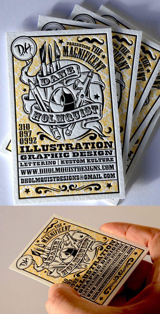 Dane Holmquist Letterpress Business Card Design   Delicious Design ...