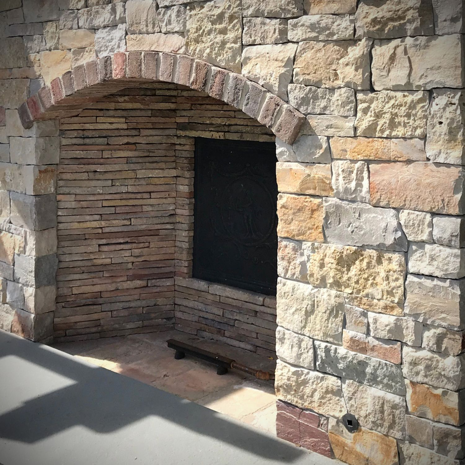 Pool Landscaping Modern Rustic Exterior Stone Fireplace Wall