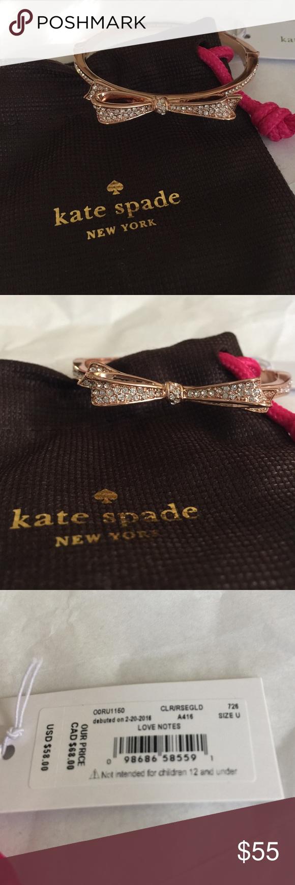 Kate spade rose gold pave large bow bangle new jewelry bracelets