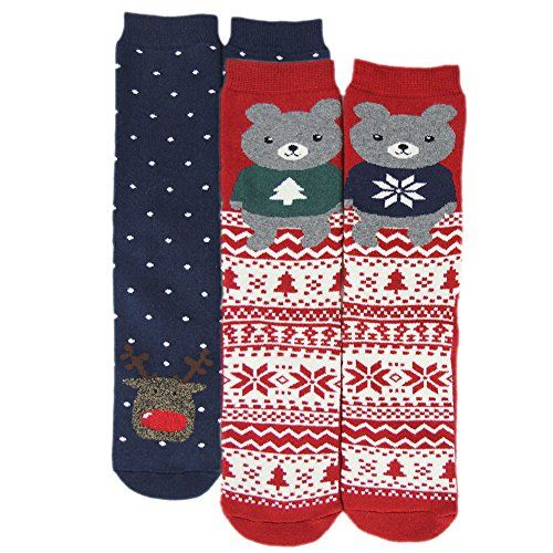 652847f37958 Gmark Men s Thick Wine Red Little Bear Socks Christmas Gi ...