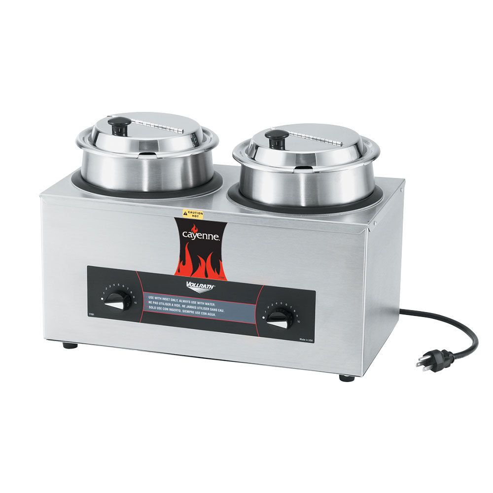 Vollrath 72040 Cayenne Twin Well 4 Qt Countertop Rethermalizer Warmer Package With Insets And Covers 120v 1100w Food Warmer Buffet Steam Tables Food Warmers