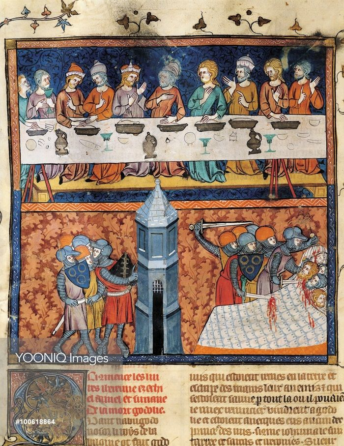 Yooniq images - Banquet at the court of a king. Conspiracy and murder, miniature from Guyart des Moulins and Peter Comestor's Bible, manuscript, end 13th Century-beginning 14th Century.
