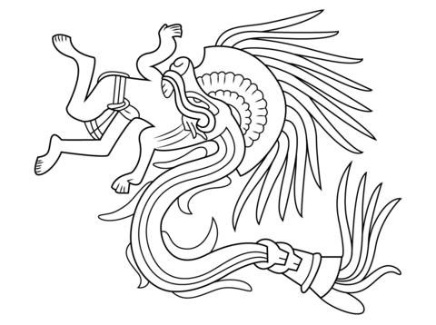 Dios Azteca Quetzalcoatl Dibujo para colorear | Cosas oscuras o ...
