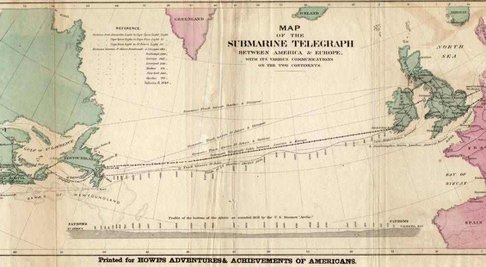 Mapa del primer cablea submarino para telégrafo que unió Europa y América en 1858.