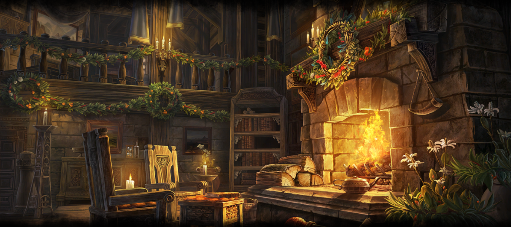 ESO housing loading screen - Enchanted Snow Globe House