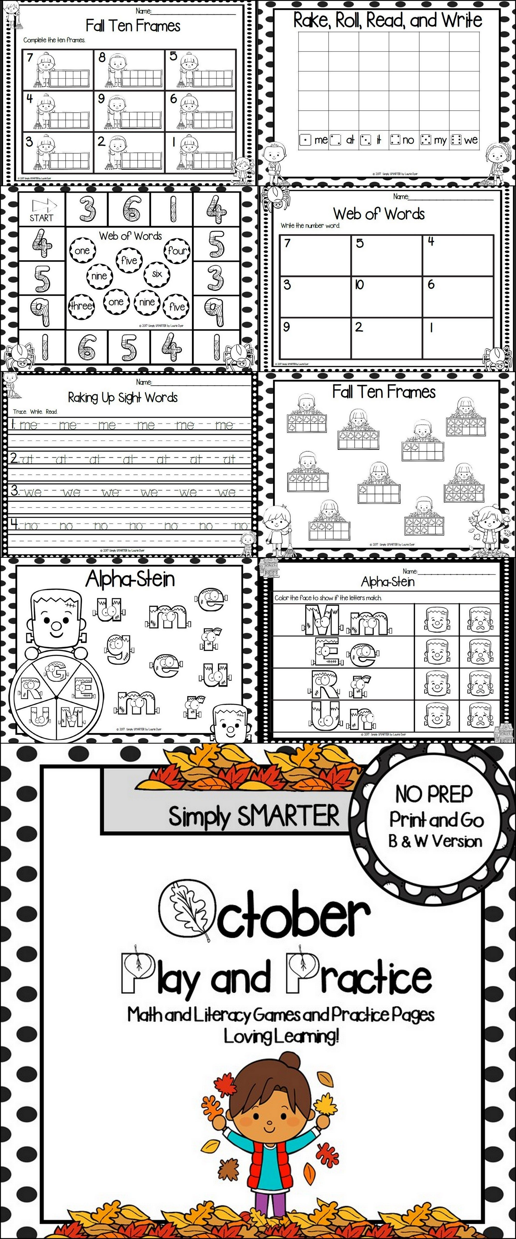 October Play And Practice No Prep Math And Literacy Games