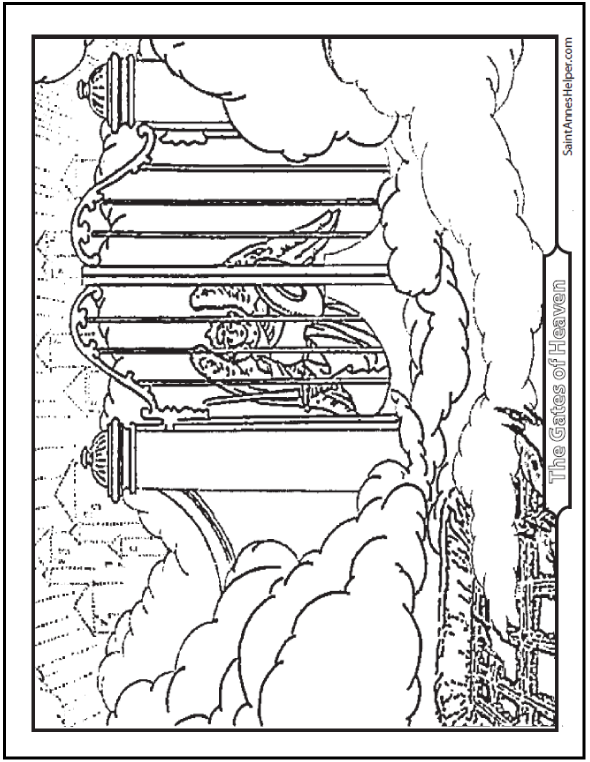 Heaven Coloring Page Gates Of