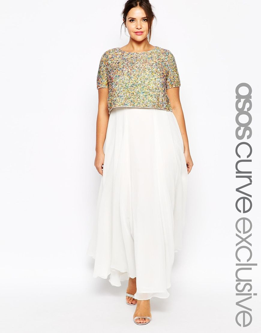 ASOS CURVE WEDDING Maxi Dress With Sequin Top. Now Asos is ...
