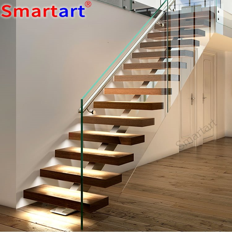 Best Oak Tread And Single Stringer Stairs Stainless Steel 400 x 300