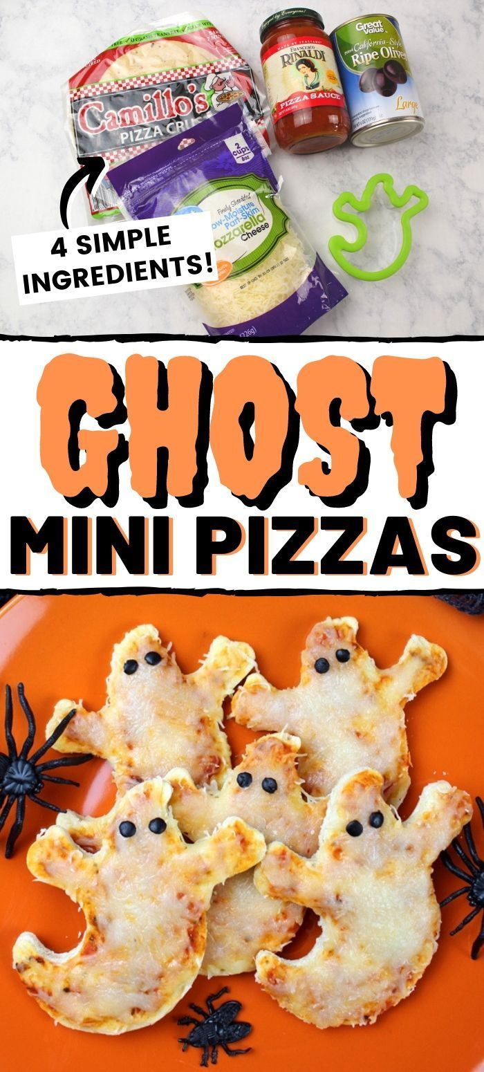 These easy 4-ingredient mini ghost pizzas make a great Halloween party appetizer…