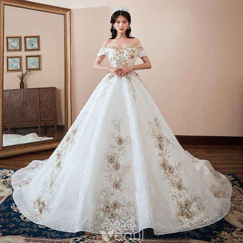 7c2d00f61f26 Chic / Beautiful White Wedding Dresses 2018 Ball Gown Off-The-Shoulder  Short Sleeve