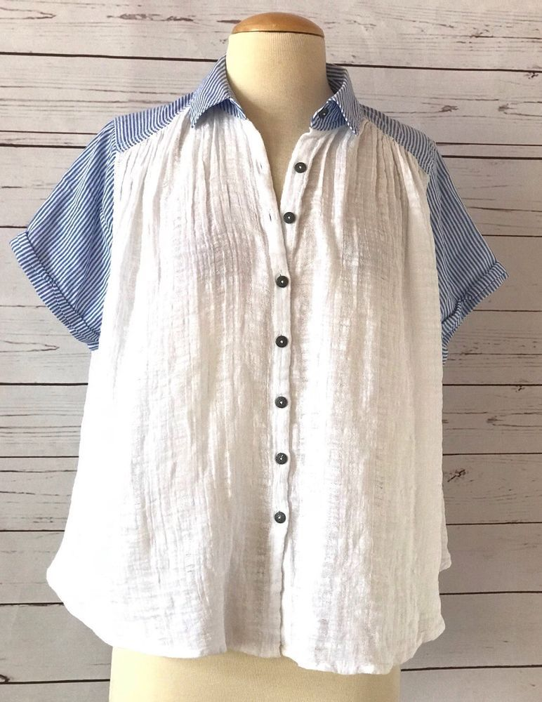 af799a5cdabd88 FREE PEOPLE White Blue Cotton Gauze Oversized Swing Crop Top Size S # FreePeople #Blouse #Casual