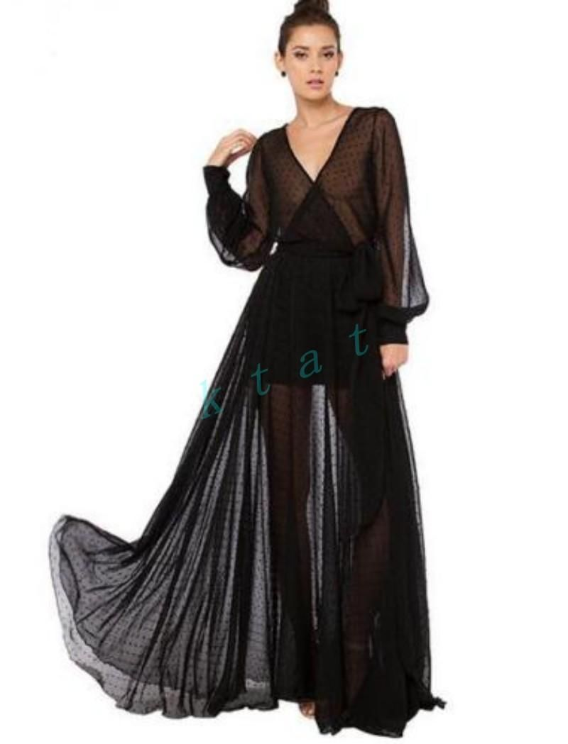 womens deep v neck polka dot long sleeves maxi dress ball gown