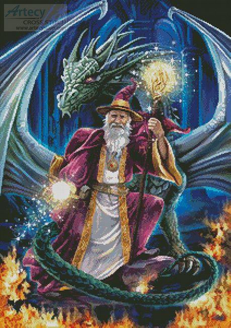Artecy Cross Stitch Wizard With Dragon Crossing Cross