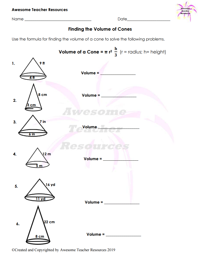 Finding Volumes Of 3d Shapes Geometry Worksheets Worksheets Teaching Middle School [ 1056 x 816 Pixel ]
