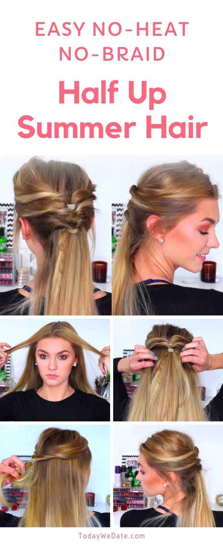 7 No Heat Easy Summer Hairstyles Anyone Can Pull Off In 5 Minutes Todaywedate Com Cute Summer Hair Summer Hairstyles Easy Hairstyles Braids For Short Hair