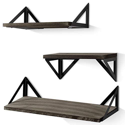 BAYKA Floating Shelves Wall Mounted, Rustic Wood Wall Shelves Set of 3 for Bedroom, Bathroom, Living Room, Kitchen (G...
