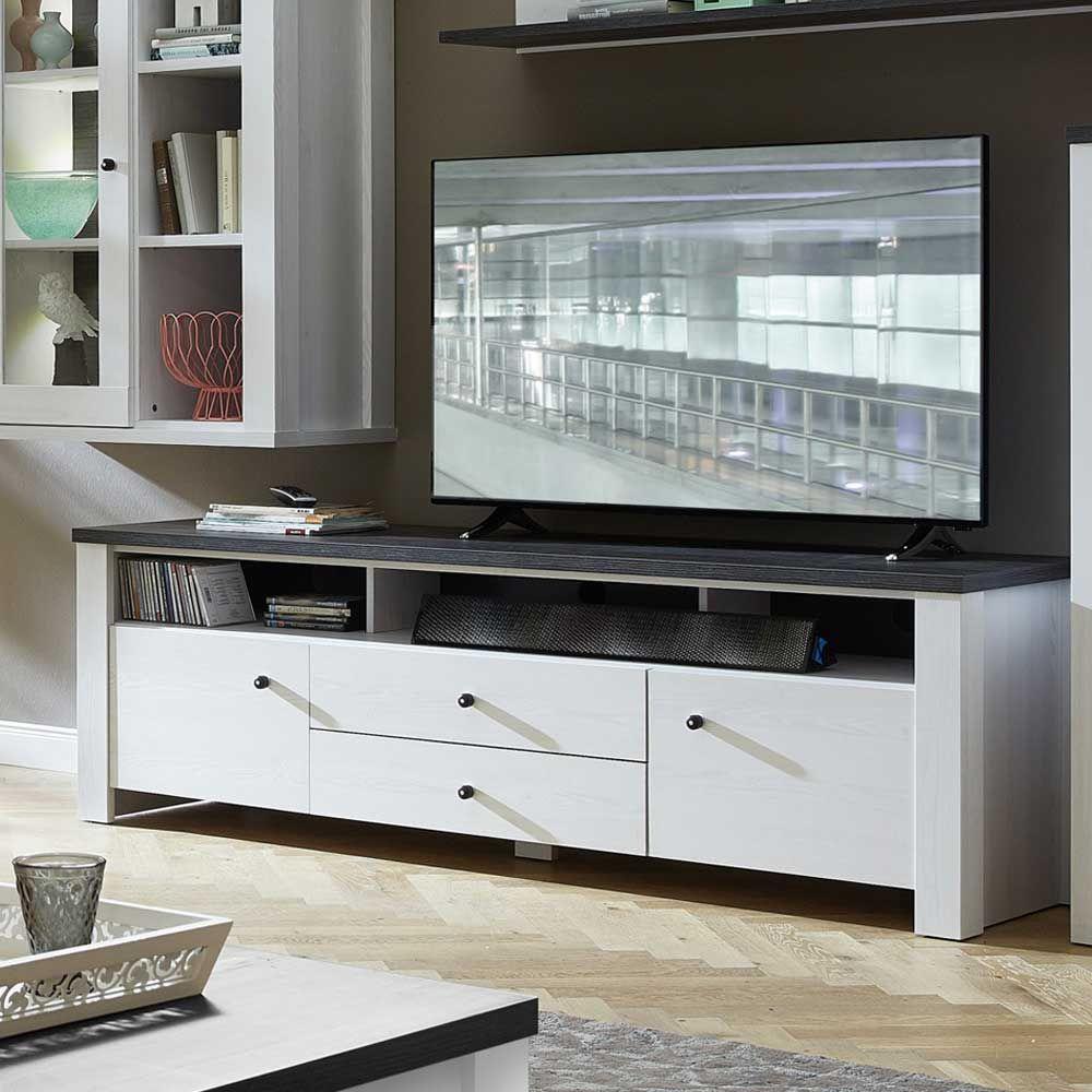 TV Lowboard in Weiß Pinie dunkel Jetzt bestellen unter: https ...