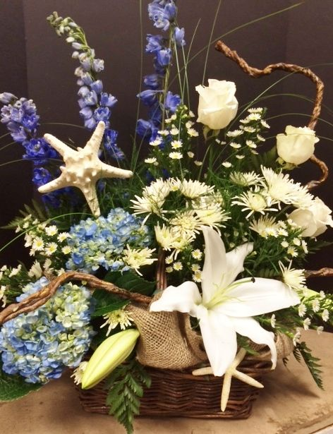 Ocean Themed Funeral Basket With Starfish Funeral Flowers Funeral Flower Arrangements Funeral Floral