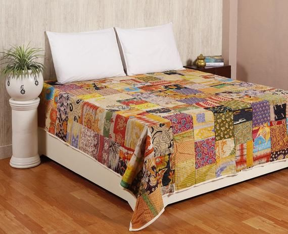 Vintage Kantha Patchwork Quilt Blanket Throw Queen Bedding Bedspread Made With Vintage Cotton Indian