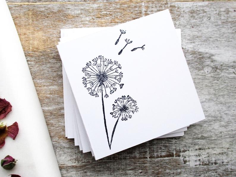 Dandelion Notecards Dandelion Stationery Set Set of 8 Blank Inside Card Set