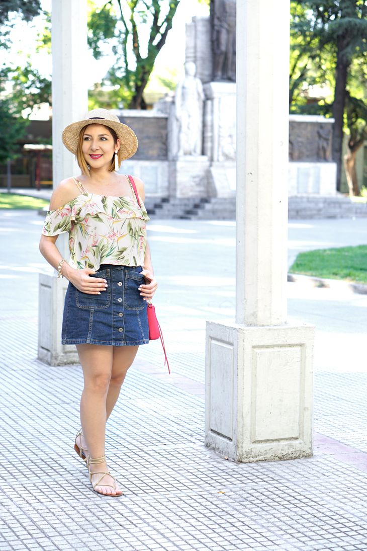 1d2736f10a Blame it on Mei, Miami Fashion Travel Blogger, 2017, Mendoza, Argentina,  Summer Travel Look, Casual Outfit, Boater Hat, Floral Off The Shoulder Top,  ...