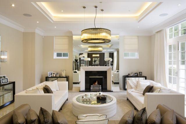 Wohnzimmer Mit Kamin Ideen Bilder Gestaltung  Modern Lichtleiste Integriert Decke