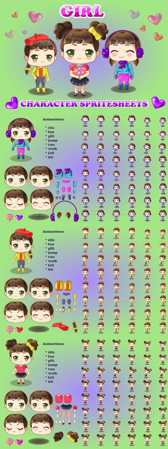 Here Is A Collection Of 2d Game Chibi Girl Character Sprite Sheet