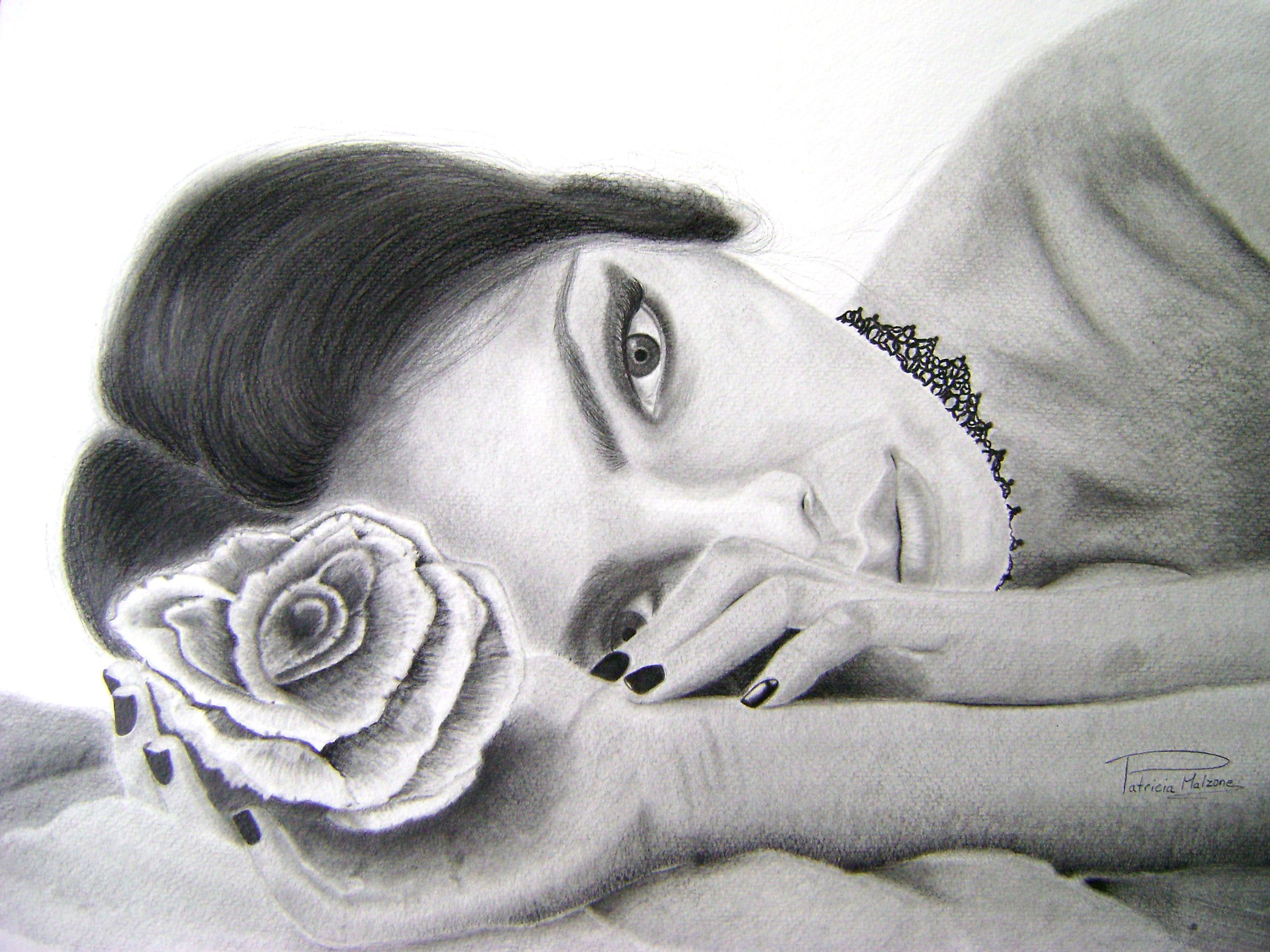 """Graphite pencil drawing called """" Anna """" from artist Patricia Malzone (Canada) https://www.facebook.com/pages/Patricia-graphite-pencil-artist/294520684047137"""