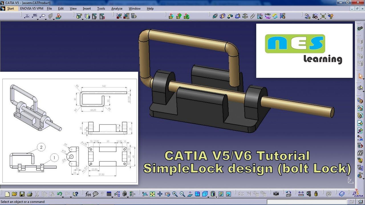 CATIA V5/V6 Tutorial | Simple lock design ( Bolt lock