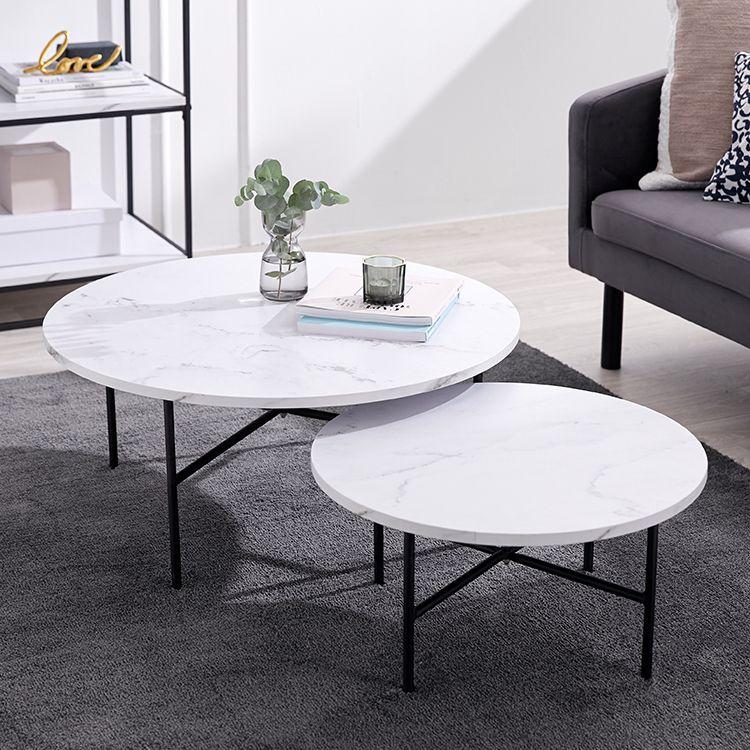 大理石柄 大理石風 テーブル ローテーブル 2個 セット テーブルセット コンパクト センターテーブル コーヒーテーブル ネストテーブル リビング テーブル 机 海外風 おしゃれ 円形 インテリア 家具 インテリア 大理石インテリア