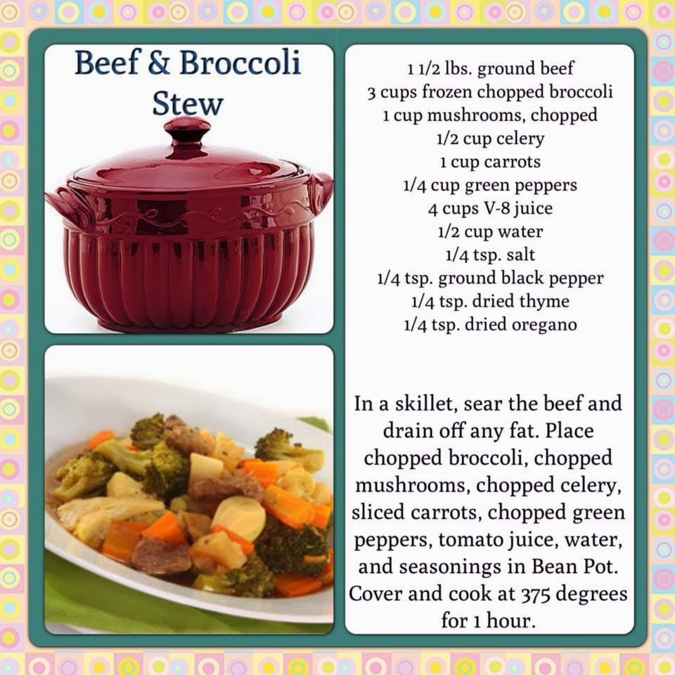 Celebrating Home Recipes Beef & Broccoli Stew in the Bean Pot ...