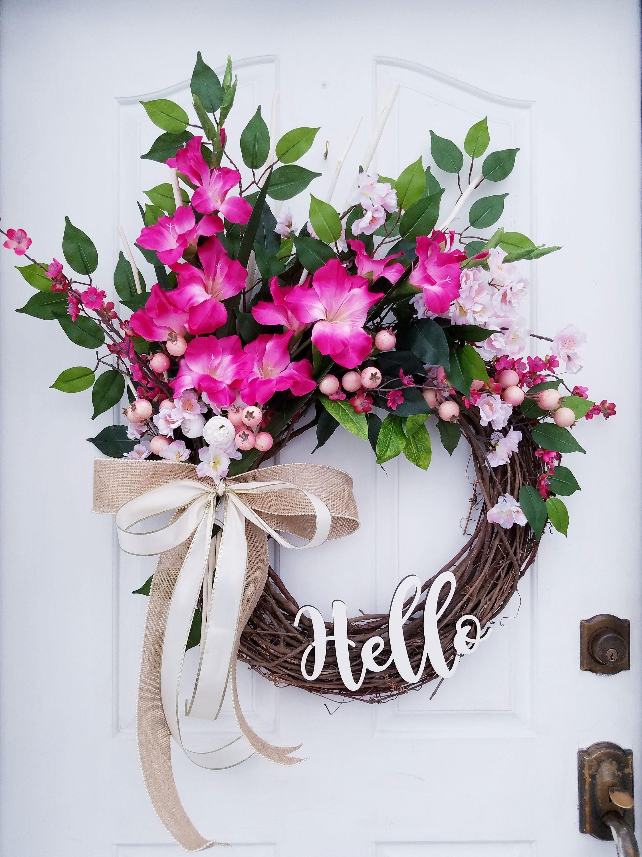 Photo of Summer Wreath for Front Door, Spring Door Decor, Pink Hello Wreath