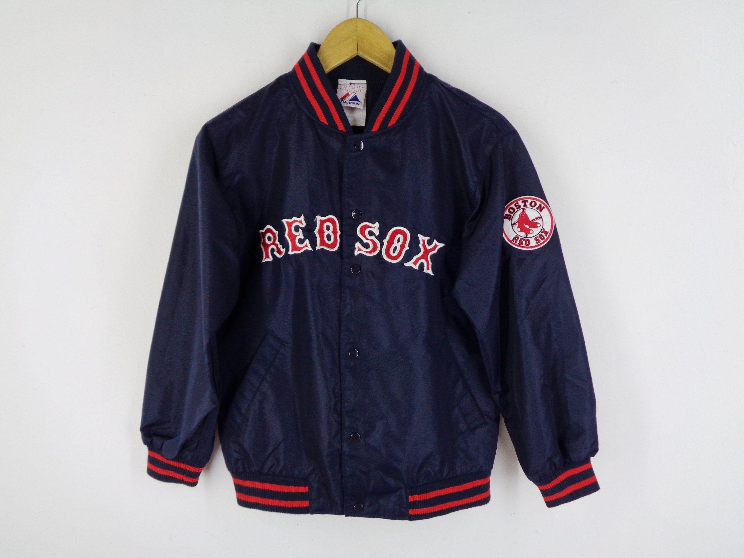 Red Sox Jacket Vintage Boston Red Sox Jacket Vintage Red Sox Etsy Red Sox Jacket Windbreaker Jacket Kids Jackets