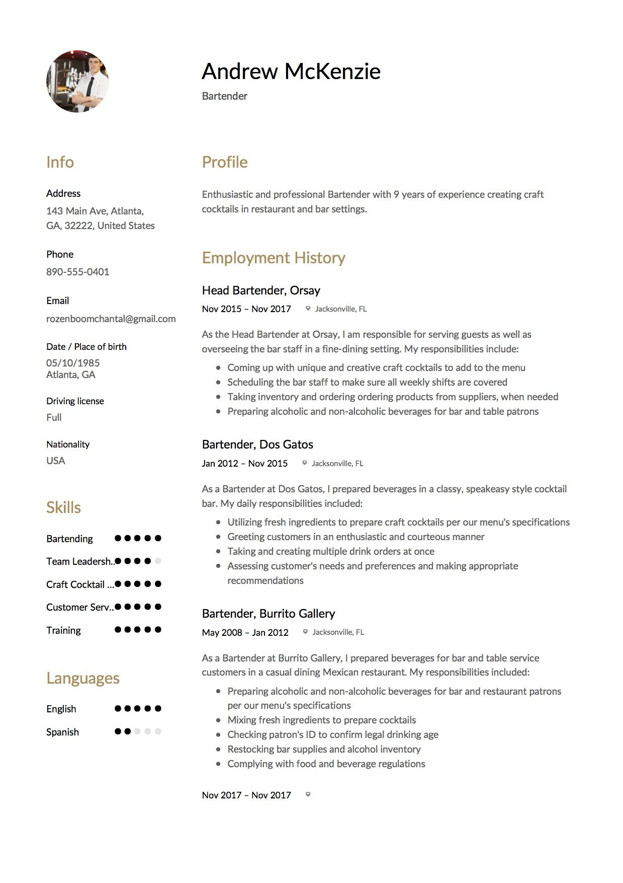Free Bartender Resume Sample, Template, Example, CV
