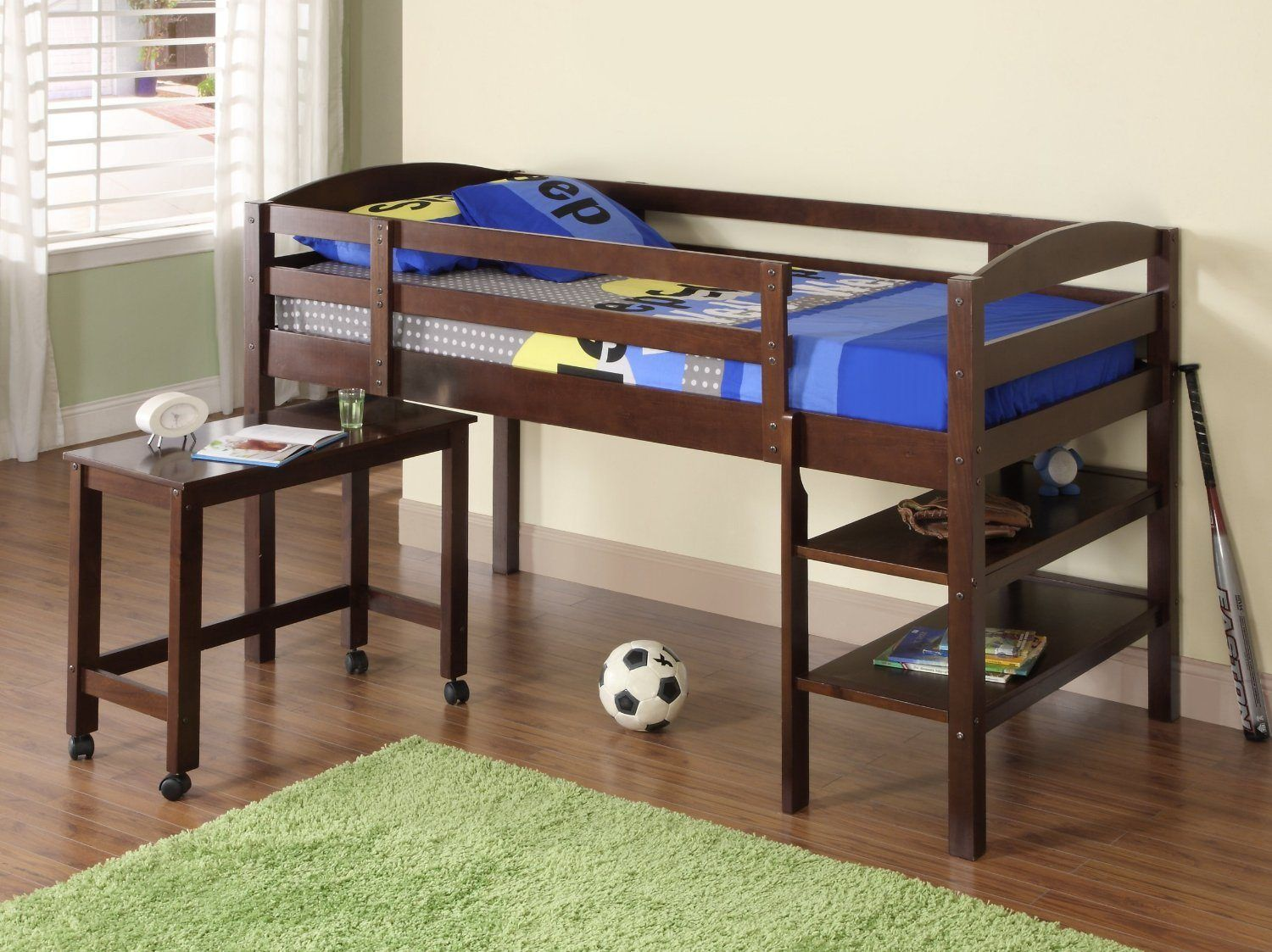 Wooden loft bed with desk   Terrific Loft Beds For Kids With Desk Image Ideas  For the Home