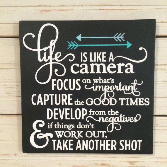 LIFE is like a CAMERA Handpainted Wood Sign by ElkeLaraDesigns
