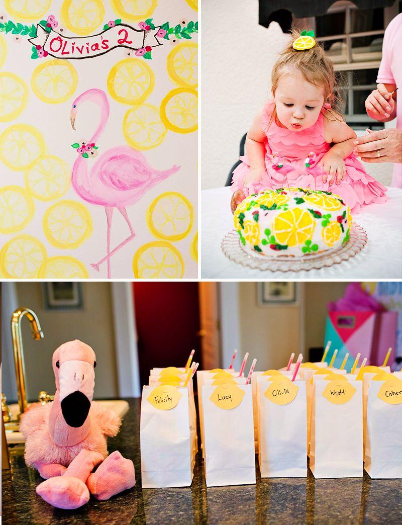 Girly Flamingos Lemons Summer Birthday Theme