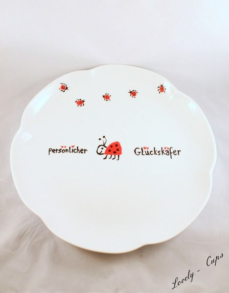 Käfer In Der Küche | Personlicher Deko Teller Glucks Kafer Keksteller Von Lovely Cups
