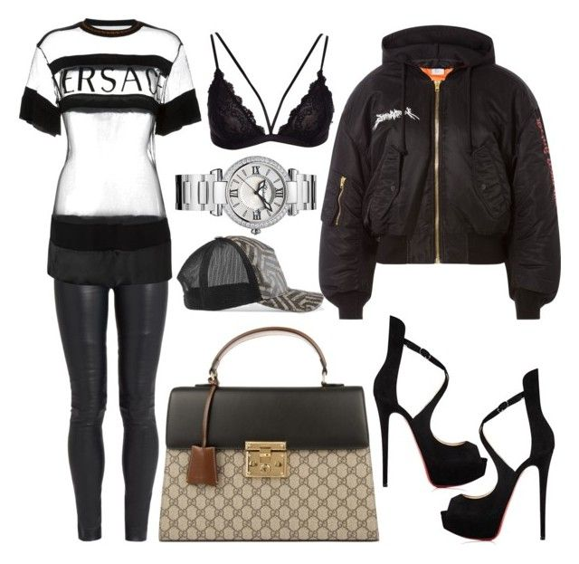 """""""👽"""" by lucya-knight ❤ liked on Polyvore featuring The Row, Versace, Vetements, Gucci, Christian Louboutin and Chopard"""