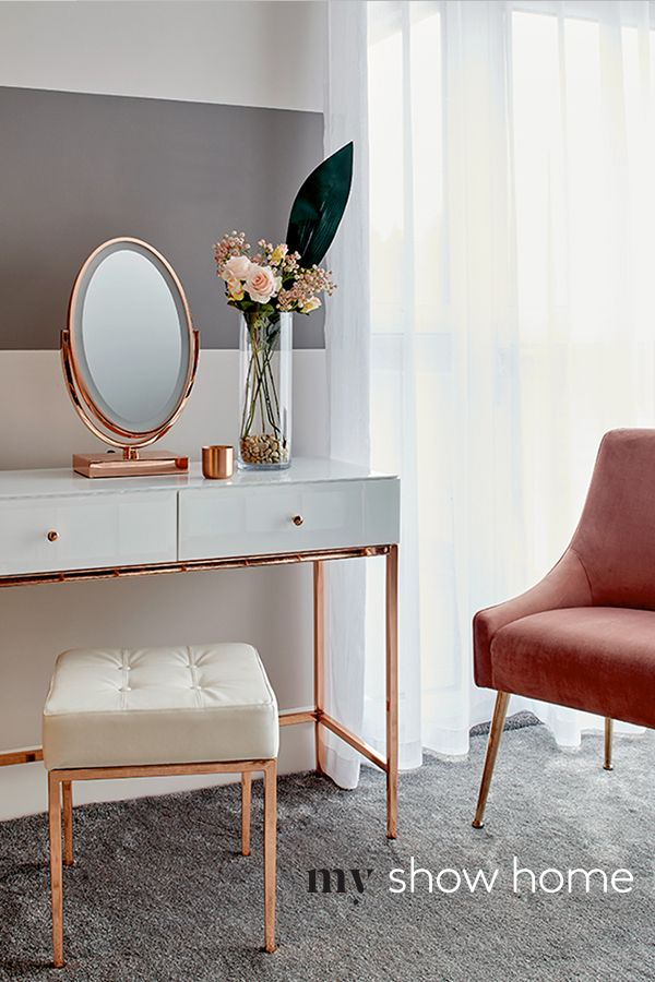 Stiletto Toughened White Glass And Rose Gold Console Table Rose Gold Bedroom Rose Gold Furniture White Dressing Tables #rose #gold #living #room #set